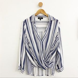 Lulus Blue White Collared Striped Shirt Blouse